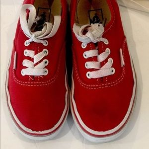 Vans Red And White Sneakers Kids Youth 12 Lace Up